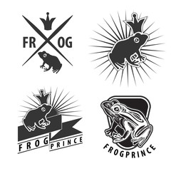Set of emblems with frog prince