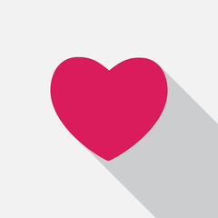 Heart Icon with Long Shadow Vector Illustration