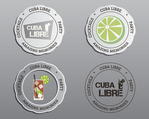 Summer cocktail party badges, labels and logo layout templates