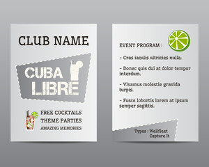 Summer cocktail party flyer invitation template with Cuba Libre