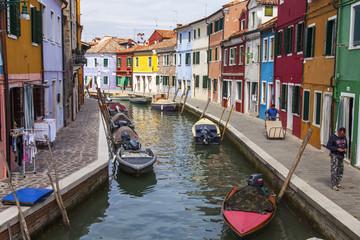 VENICE, ITALY. Burano the island, the street canal
