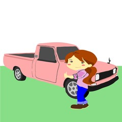 cartoon woman with retro truck