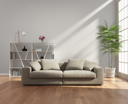 Living room with a grey sofa by the window
