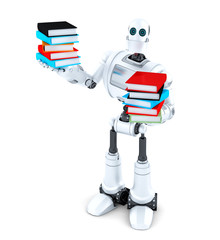 Robot with books. Isolated. Contains clipping path