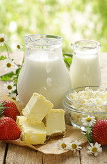 Aluminium Prints Dairy products assortment of dairy products (milk, butter, sour cream, yogurt)