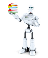 Robot with a pile of books. Isolated. Contains clipping path