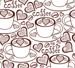 Brown vector seamless pattern with coffee cups