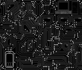 Circuit board technical vector seamless pattern