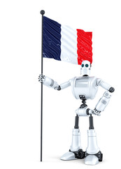 Android Robot standing with flag of France. Isolated. Contains clipping path