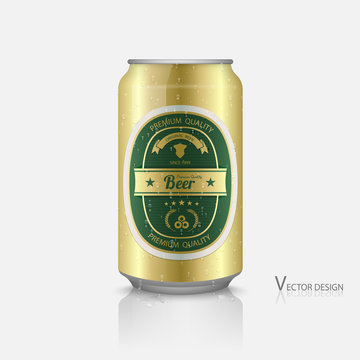 Beer can with beer label vector, with water drops