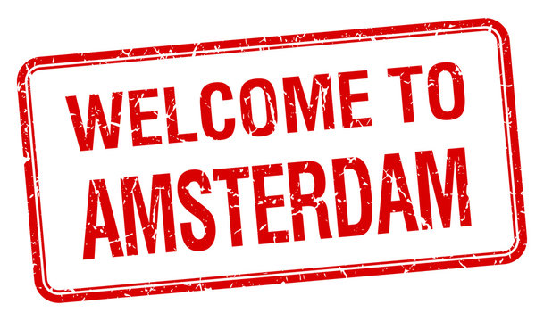 welcome to Amsterdam red grunge square stamp