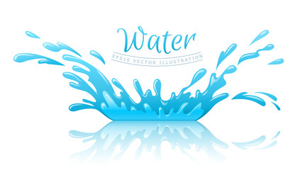 Water splash pool with drops and reflection. Eps10 vector