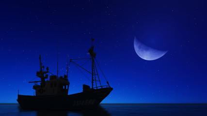 boat and the moon