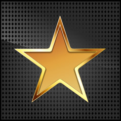 vector illustration of golden star on black metallic grid