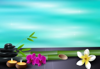Stone, wax, flowers, and bamboo blue sea background