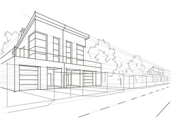 Linear architectural sketch blocked houses