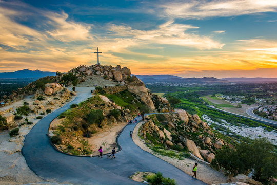 The cross and trails at sunset, at Mount Rubidoux Park, in River