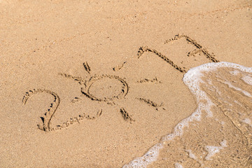 Year 2017 Written On Beach Sand