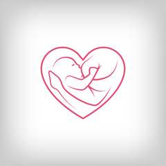 Breast feeding heart shaped sign.