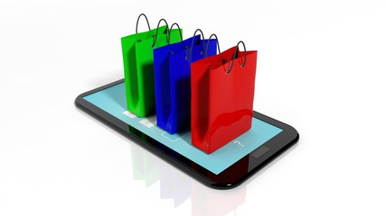 Colorful shopping bags on black smartphone/tablet screen