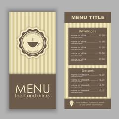 Design a menu for coffee