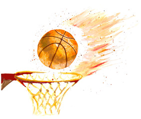 watercolor basketball ball thrown in a basket. vector