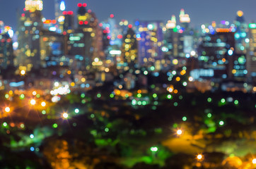 Cityscape view with blurred lights