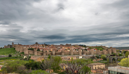 Cityscape and medieval Walls of Avila in Spain