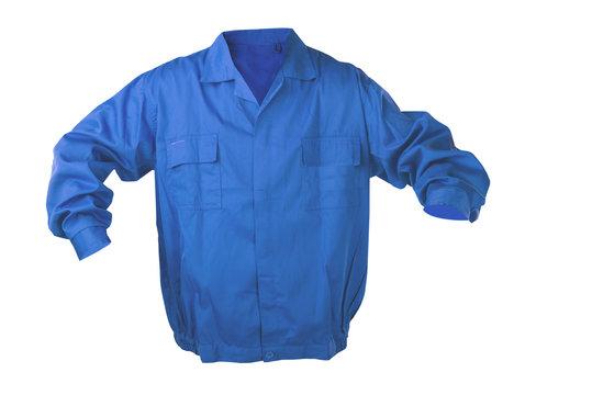 Blue protective clothing - jacket. Isolated on white.