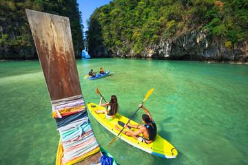 Traveller are kayaking at a beauty sea Koh-Hong Krabi Province