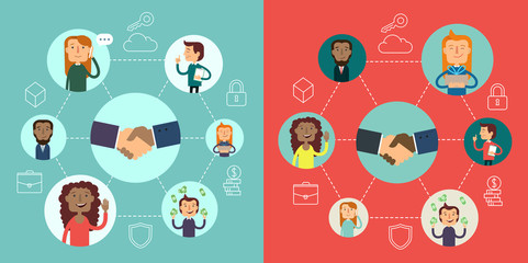 Social network vector voncept. Flat design illustration for web sites. infographic design. communication systems and technologies. Business strategy.
