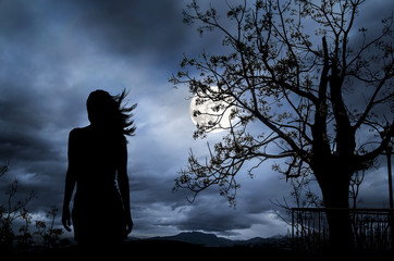 The Woman silhouette with full moon