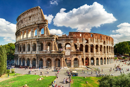 Colosseum or Coliseum in Rome, Italy. Famous ancient Roman monument, world landmark.