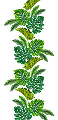 vertical floral border, vector monstera palm leaves