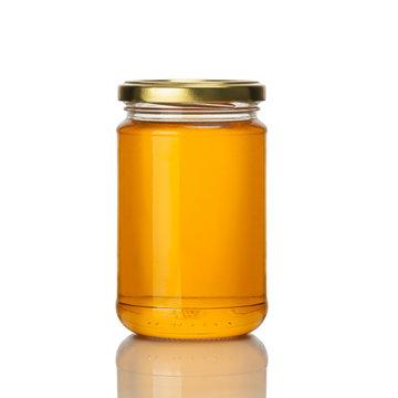 honey jar on white background