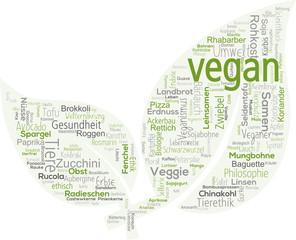 vegan - Veggies - Vegetarier - Veganer - Blatt - Tagcloud