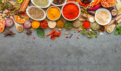 Foto auf AluDibond Gewürze Spices and herbs.Food and cuisine ingredients.
