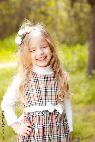 """""""Laughing baby girl 4-5 year old outdoors. Smiling child ...  """"Laughing ..."""