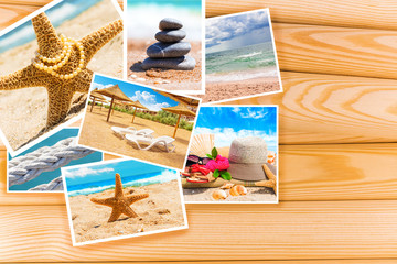 Sea photo card on wooden background