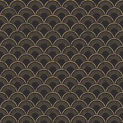 Seamless worn out vintage fish scale pattern background.