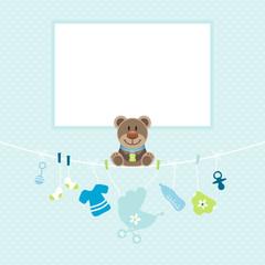 Teddy Baby Symbols Boy Frame Blue Dots