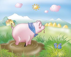 A cute pig in the mug. Digital illustration for the gingerbread boy fairy tale.