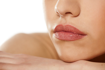 close up of beautiful female lips