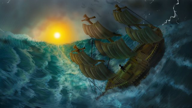 Painted image of ship facing dangerous storm