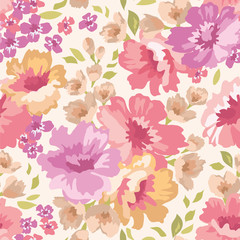 Seamless pattern with flowers on a light background. Vector illustration.