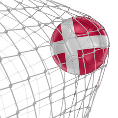 Danish soccerball in net. Image with clipping path