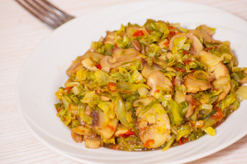 Stewed cabbage with mushrooms