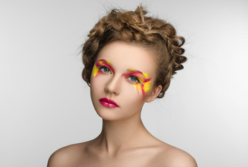 red yellow Makeup Beauty Girl