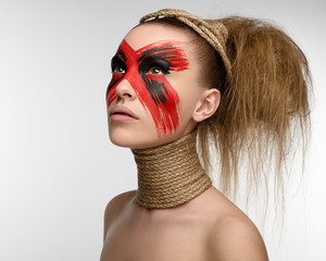 Girl Makeup red black rope on his neck