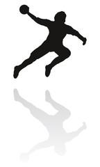 Hand drawn silouette of a male handball player.